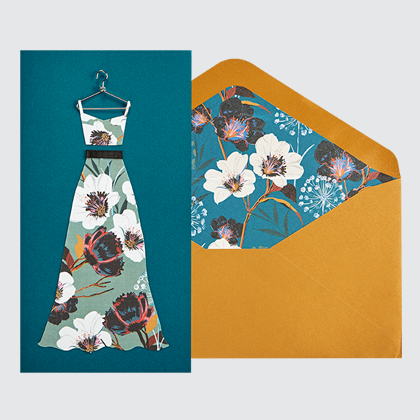 NIQUEA.D Long Dress card with mustard envelope and floral liner