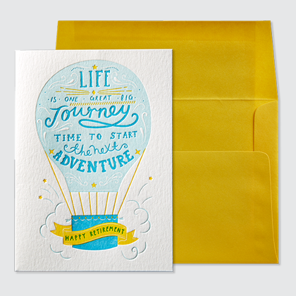 NIQUEA.D Hot Air Balloon Retirement Card with yellow envelope
