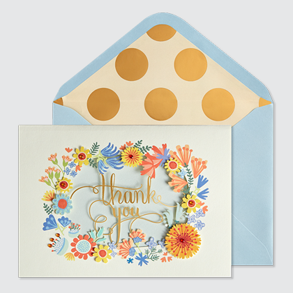 NIQUEA.D Thank You Wreath laser cut card with blue envelope and metallic god polka dot lining