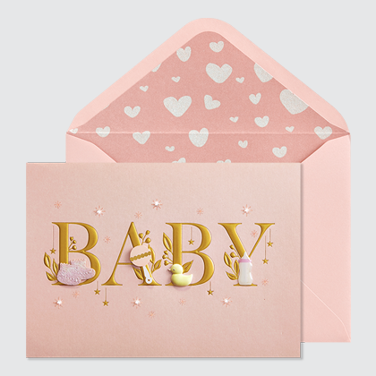 NIQUEA.D Baby Lettering Girl card with pink envelope and hearts lining