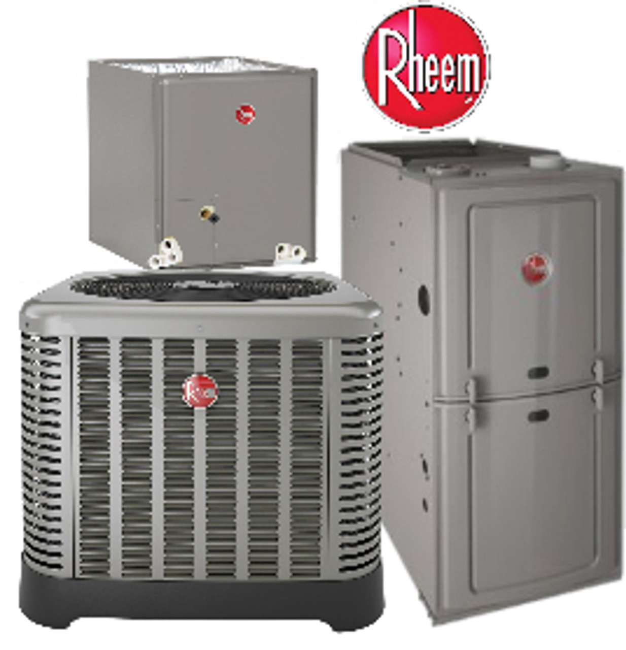 5 Ton Rheem 15.5 SEER R410A 80/% AFUE 125,000 BTU Upflow//Horizontal Gas Furnace Split System