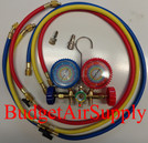 EZ Read Manifold Gauges 410a,R22,404A,134A with Shutoffs and Mini Split Adapters