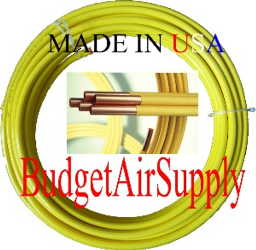 "3/8"" OD x 100 ft.COPPER YELLOW Plastic POLYETHYLENE Coated LP Propane Gas Tubing"