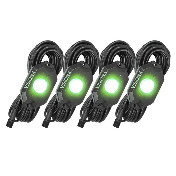 Vision-X 9 Watt LED Rock Light 4 Pod Kit Green