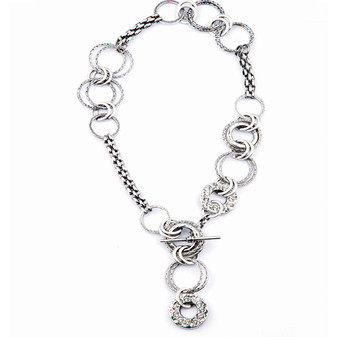 Link Necklace in Burnished Silver with Swarovski Crystals