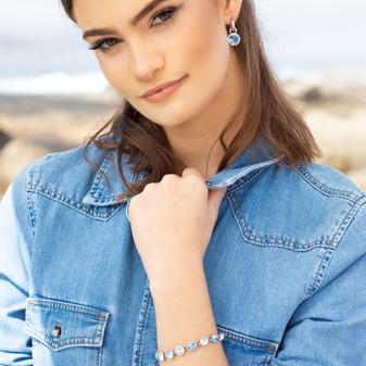 Ocean Deep Aquamarine Charms - E4915 - $59 (Also available in Crystal - E4916 - $59)  Ocean Lovers Tennis Bracelet - B1607 19cm - $139