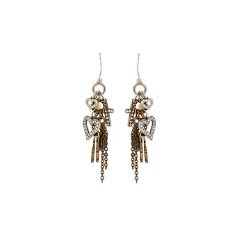 Precious Two-Tone Charm Earrings (E2366)