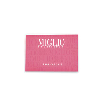 Our Miglio pearl cleaning kit includes two tissue wipes and a soft polishing cloth; all that is necessary to keep your shell pearls beautiful and extend their life span.