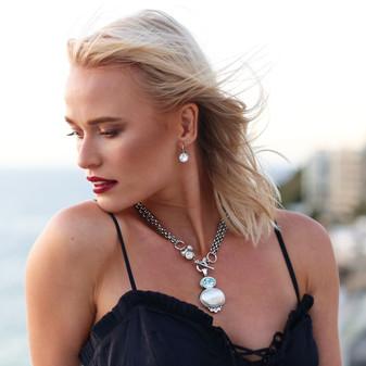 Petite Glam Rock Drop Earring - E2838 - $69 Sea & Sand Light Azure Pearl Pendant - EN1857 - $149