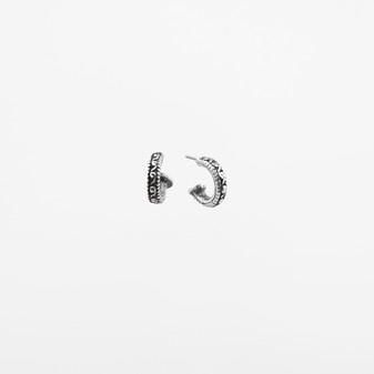 Textured Burnished Silver Hoop Earrings.