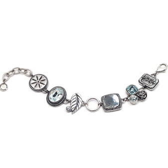 B.S Aqua Crystal Charm Bracelet (B1030)