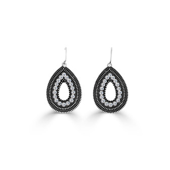 Treasured Earrings   Miglio burnished silver Swarovski® crystal detachable french wires hypoallergenic