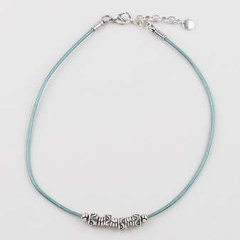 Teal Leather Necklace (N1678)