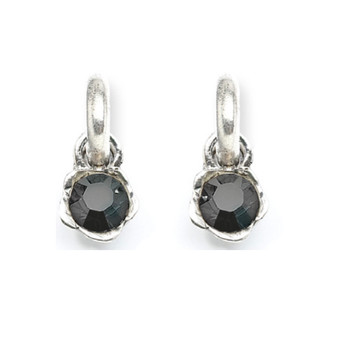 Black Floral Earring Charms (E2009)