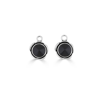 Rock Princess Jet Black Earring Charms (E4547)