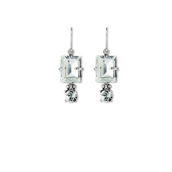 Crystal Square Drop Earrings (E2246) - Ships immediately from Perth