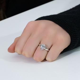 Petite Teardrop Sentiments Ring  - Sterling Silver 925