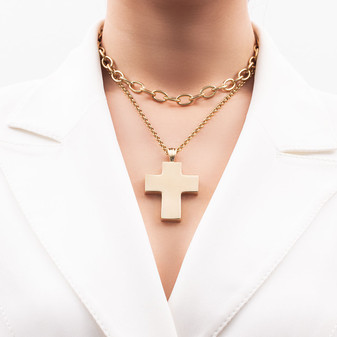 18ct Gold-plated Bold Cross Pendant