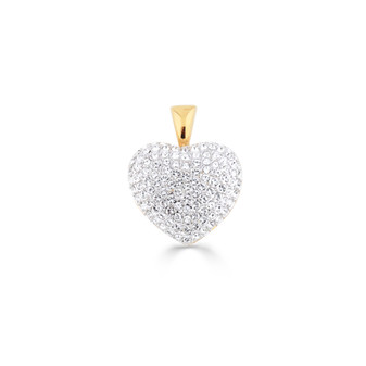 18ct Gold-plated Pave' Crystal Heart Pendant