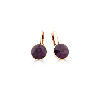 22ct gold-plated Amethyst Bold Glam Rock Earrings ( E4696 )