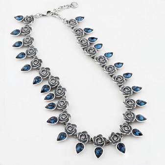 Full-blown rose and montana Swarovski® crystal teardrop necklace