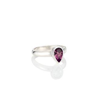 Petite  Amethyst Teardrop Ring