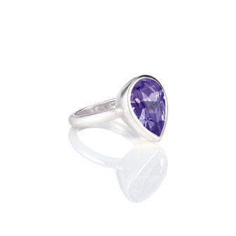 Bold Tanzanite Teardrop Ring