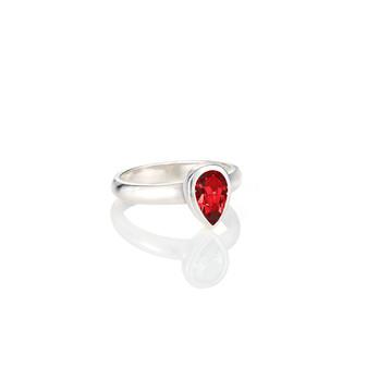 Petite Scarlet Teardrop Ring