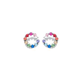 Rainbow Circle Stud Earrings ( E4779 )
