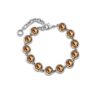 Light Colorado Topaz A-list Bracelet - Burnished Silver / Adjustable / Swarovski Crystal / Tennis Bracelet / Elegant / Gift Ideas
