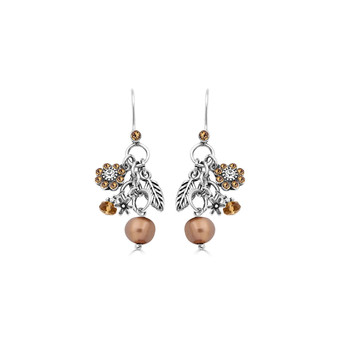 Willow Bronze Pearl Drop Earrings - Burnished Silver / Swarovski Crystal / Pearl Jewellery / Bronze Pearls / Flower Jewellery / Gifts For Her