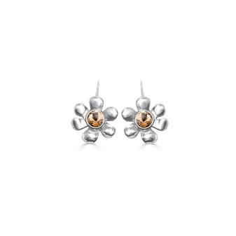 Light Colorado Topaz Daisy Drop Earrings - Burnished Silver / Flower Earrings / Daisy Jewellery / Swarovski Crystal / Floral Jewellery / Gift Ideas