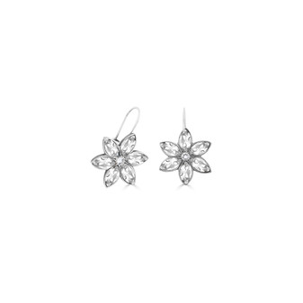 Forget-Me-Not Drop Earrings - Burnished Silver / Flower Drop Earrings / Swarovski Crystal /  Floral Jewellery / Gifts For Her