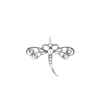 Dragonfly Pendant - Burnished Silver / Swarovski Crystal / Handmade / Dragonfly Jewellery / Gifts For Her / Gift Ideas