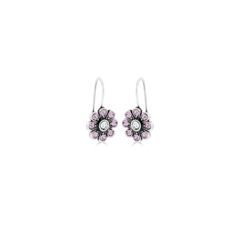 Light Amethyst & Crystal Bold Forever Flowers Drop Earrings - Burnished Silver / Flower Drop Earrings / Swarovski Crystal /  Floral Jewellery / Gifts For Her