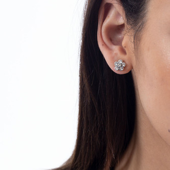 Tiny Forever Flowers Stud Earrings - Burnished Silver / Flower Stud Earrings / Swarovski Crystal /  Floral Jewellery / Gift For Her