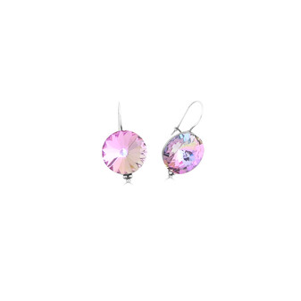 Bold Rainbow Pink Drop Earrings - Burnished Silver / Bold Drop Earrings / Swarovski Crystal / Lever back Clasp Fastening / Statement Jewellery / Gifts For Her