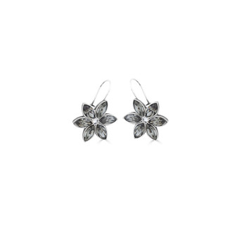 Black Diamond Forget-Me-Not Drop Earrings - Burnished Silver / Flower Drop Earrings / Swarovski Crystal /  Floral Jewellery / Gifts For Her
