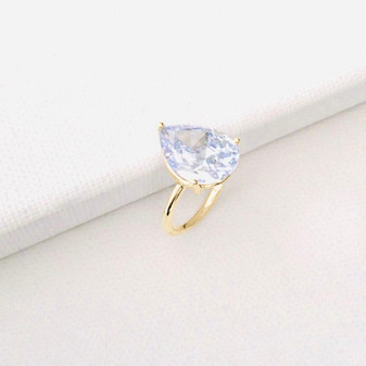 18ct Gold Vermeil Pear Cubic Zirconia Stackable Ring