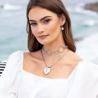Ocean Beauty White Pearl Drop Earrings - E4896 - $49 Clifton Pearl Heart Pendant - EN1859 - $79 Sena Necklace - N1934 43cm - $69