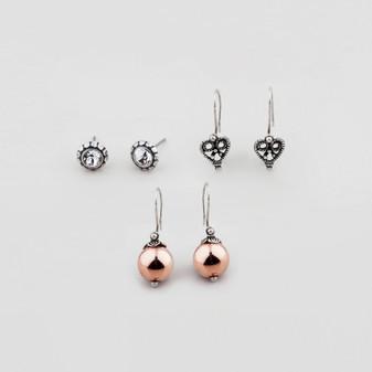 Rose Gold Earrings Set (E2766) - Ships immediately from Perth