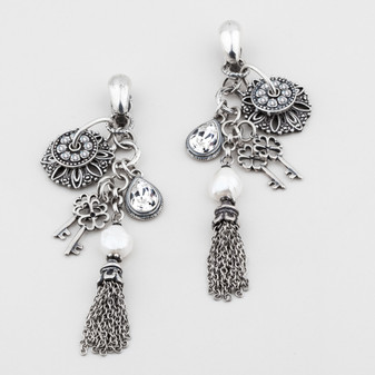 Burnished silver, white freshwater pearl and classic Swarovski® crystal clip-on chandelier earrings. Can be worn in multiple ways