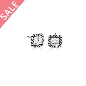 Burnished Silver Square-Cut Crystal Earrings - Swarovski Crystal - VALUED AT AUD$39