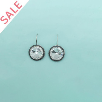 Detailed Burnished Crystal Drop Earrings / Swarovski Crystal / Secure Clasp Fastening - VALUED AT AUD$79