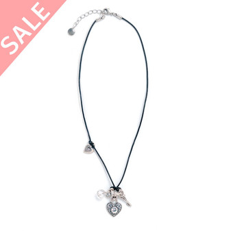 Leather Heart Charm Necklace / Swarovski Crystal / Lobster Clasp Fastening / Plus Extender - VALUED AT AUD$49