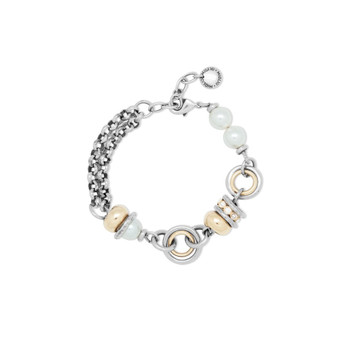 18ct Gold-Plated  Two-Tone Pearl Bracelet