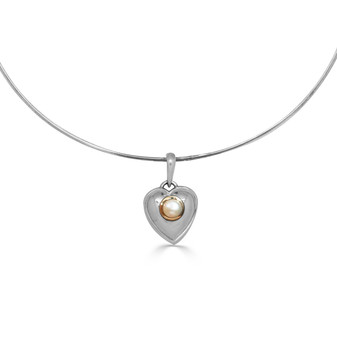 Kiss of Gold Mabe Pearl Heart Pendant