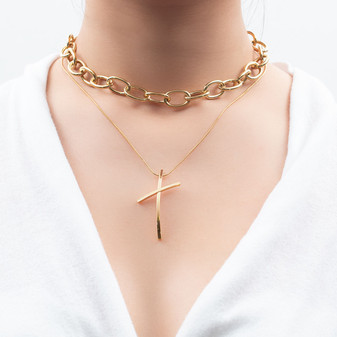 18ct Gold-plated Delicate Cross Necklace