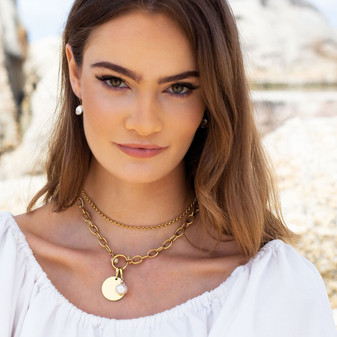 18ct Gold Plated Petite Glam Rock Earrings - E4689 -  $89 Hello Sunshine Gold Chain Necklace - N2118 - $99 Sea Goddess Gold Oval Link Necklace - N2115 - $259 18ct Gold Vermeil Bold Disc Pendant - EN1846 - $159