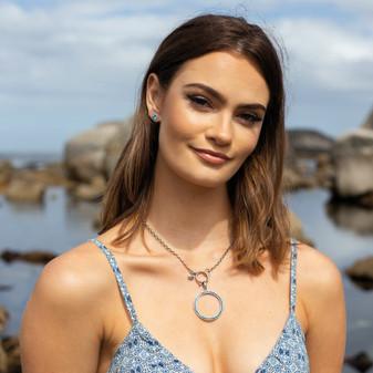 Seaside Capri Blue Stud Earrings - E4928 - $29 Nautical Rope Necklace - N2105 - $39 (matching bracelet - B1604 -$25) Circle Wave Capri Blue Pendant - EN1868 - $79